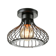 Vintage Industrial Rustic Flush Mount Cage Ceiling Light Metal Pendant E27 Lamp