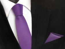 schmale TigerTie Schlips Krawatte Einstecktuch lila Flieder Uni Binder Tie