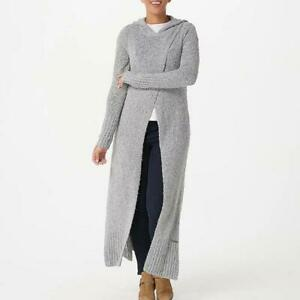 Peace Love World Maxi Crossover Sweater with Hood Heather Gray