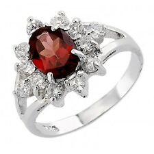 Sterling Silver Garnet Ring with CZ Size 6