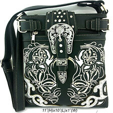 Western Cowgirl Black Rhinestone Buckle Cross Body Hipster Messenger Bag Purse
