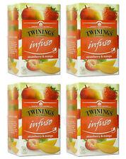 4 x TWININGS Infuso Strawberry & Mango Fruit Flavored Tea 20 Envelopes Box