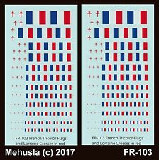 1/72 1/100 1/144 1/200 1/285 Decals FR-103 French Flags and Lorraine Cross