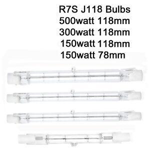 Halogen Mains security light bulb R7s J118 78mm 118mm floodlight garden outdoor