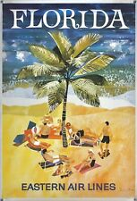 Original Vintage Poster FLORIDA - EASTERN AIRLINES Airline Travel Sun Beach Sand