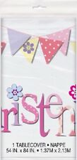 "Table Cover Pink Bunting Christening 54""x 84"" Girls Party Tableware Supplies"