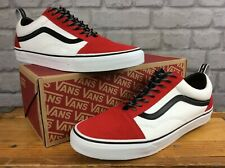 VANS MENS UK 12 EU 47 OLD SKOOL OTW WEBBING RED BLACK WHITE TRAINERS LD