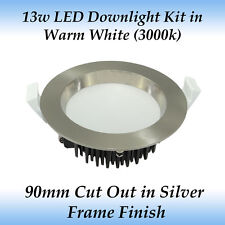 13w Dimmable LED Downlight Kit in Warm White Light with Brushed Chrome Frame