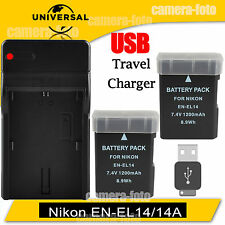 2X EN-EL14a Battery + USB Charger Dock For Nikon D5300 D3100 D3300 P7700 P7800