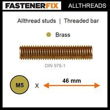 M5 x 46 mm allthread brass studs, threaded bar to DIN 976-1 (100 pack)
