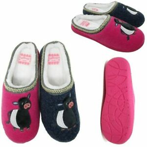 womens ladies mule slip on slippers cow pink navy size 3 4 5 6 7 8 new boxed