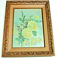 1975 LOLA ADES HANDSIGNED ARCYLIC/OIL ON BOARD PAINTING, YELLOW ROSES
