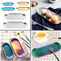 Stainless Steel Storage Tray Holder Oval Fruit Plate Jewelry Display Organizer