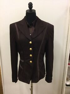 ESCADA Stunning Brown Wool Jacket Silk Trim Brown Silk Blouse Size 38 (6 US) NWT