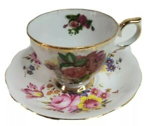 Tea Cup and Saucer England Bone China Cottagecore Shabby Victorian Mismatched