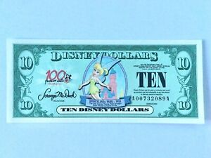 Disney Dollars $10 TINKER BELL  2002 Series A, Uncirculated, Mint Condition