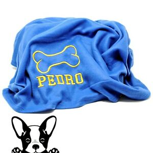 XL Embroidered Personalised Fleece Dog Blanket Throw comes in 4 Colours Blue
