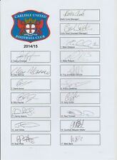 CARLISLE UNITED 2014-2015 ORIGINAL HAND SIGNED 2 X TEAM CARDS 31 X SIGNATURES