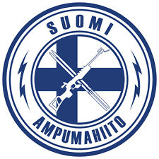 Biathlon Decal - Finland (Blue Text and Lightning) - 3.0 Inches