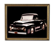 1956 Black F-100 Ford Pickup Truck Wall Picture Gold Framed Art Print