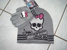Bonnet et gants gris Monster High 5 / 6 ans neuf avec étiquette