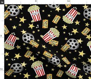 Vip Night Theater Popcorn Black Yellow Stars Red Spoonflower Fabric by the Yard