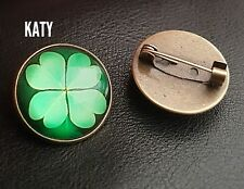 Vintage Green 4 Leaf Clover Round Small Lucky Brooch Glass Cabochon Spiritual