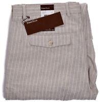 Perry Ellis Mens $79.50 Natural Linen Crimini Beige Pinstripe Pants Choose Size