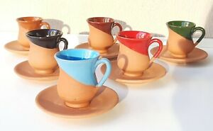6 set of Earthenware Coffee Cup Saucer, Handmade Terraceous brown serving Mugs