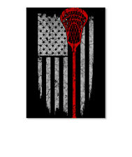Lacrosse Usa Flag Sticker - Portrait