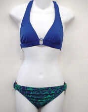 SHOSHANNA Blue Floral Halter Bikini Swimsuit XL Cup C NEW