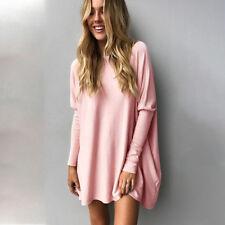 Oversize Damen Lose Pullover Pulli Bluse Tunika Tops T-Shirt Longshirt Oberteile