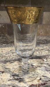 "RARE GLASTONBURY-LOTUS GEORGIAN GOLD ICE TEA/WATER CRYSTAL STEM EX COND 7 1/4""T"