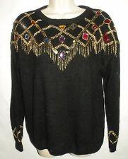 Womens Sheridan Black Silk Blend Holiday Sweater Gold Beading & Crystal Jewels M