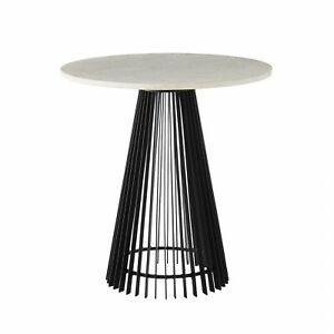 """23.5"""" Round Accent Table Contemporary Iron Marble Brass Black White Antique Gold"""