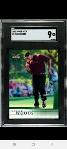 2001 Upper Deck Golf #1 Tiger Woods RC Rookie SGC 9 MINT