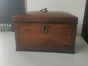 A Superb Antique Georgian Mahogany Inlaid Tea Caddy- c1800