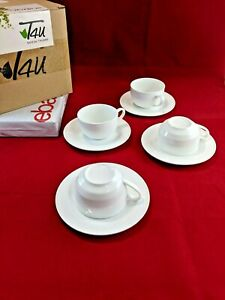 T4U Espresso Cups and Saucers Set of 4 Serveware Coffee Cups 6 Ounce White