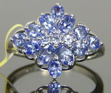Genuine Tanzanite Cluster Cocktail Ring Platinum / Sterling Silver 2.92 cts Sz9