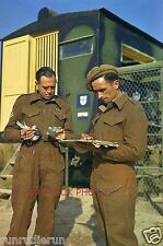 BRITISH 8TH ARMY SOLDIERS CHECK PIGEON CARRIED MESSAGE DURING WWII IN ITALY