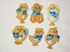 6 Vintage Easter Ducks Plastic Refrigerator Magnets