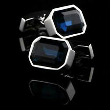 Blue Emerald Cut Cuff Links Sterling 925 Real Silver Handmade Jewelry For Men Cz