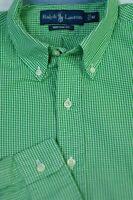 Polo Ralph Lauren Men's Green White Check Cotton Casual Shirt M Medium
