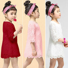 Girl Princess Lace 3/4 Sleeve Mini Dress Party Casual Tunic Pageant Bridesmaid