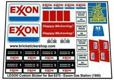 Replica Pre-Cut Sticker for Lego® Classic Town set 6375 - Exxon Gas Station