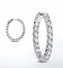 6.59 carat Round cut Diamond 14k White Gold Hoop Oval shape Earring 66 x 0.10 ct