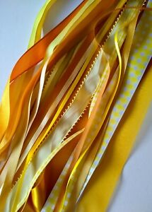 Yellow & Old Gold Ribbon Bundle -15 x Generous Metres Assorted Widths/Types -New
