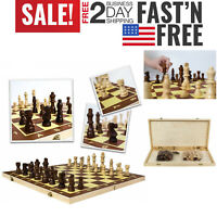 Professional Wooden Folding Pieces Chess Set Board Game Adults Kids Travel Home