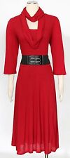 Style&co.Holiday Red Dress Size XL Casual Scarf Belt Ribbed Sweater Women's New*