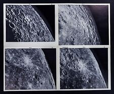 1960 Photographic Lunar Atlas Moon - 4 Photo Set - Field Byrgius F6 Surface